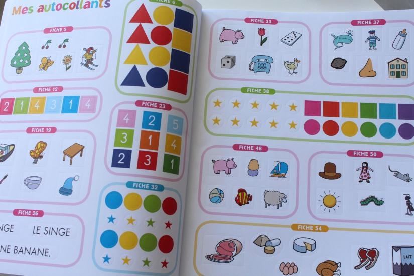 bordas-livre-cahier-eveil-vacances-maternelle-autocollants-petit-enfant-animaux-lecture-nombre-lettre-chiffre-maths-anglais-decouverte-programme-ecole-collage