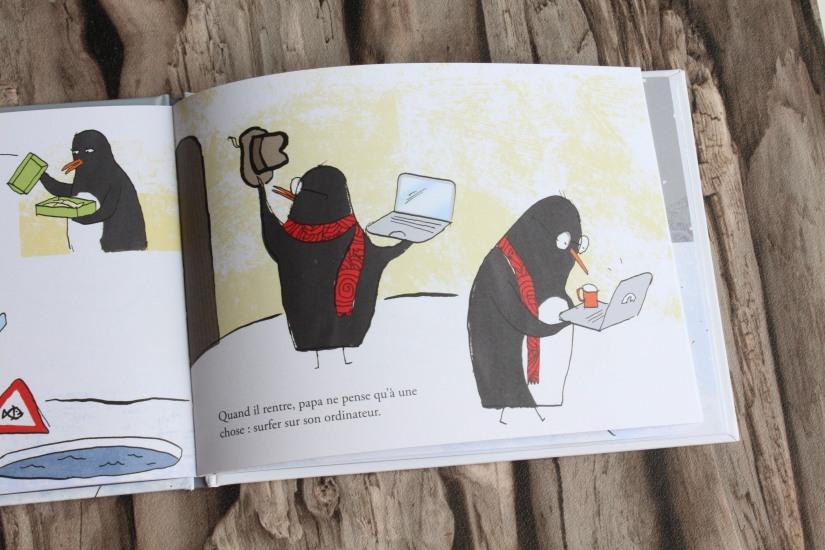 papa-livre-fete-lecture-album-jeunesse-pere-enfant-seuil-martiniere-editions-poetique-moderne-connecte-voyage-quotidien-humour-pingouin-banquise