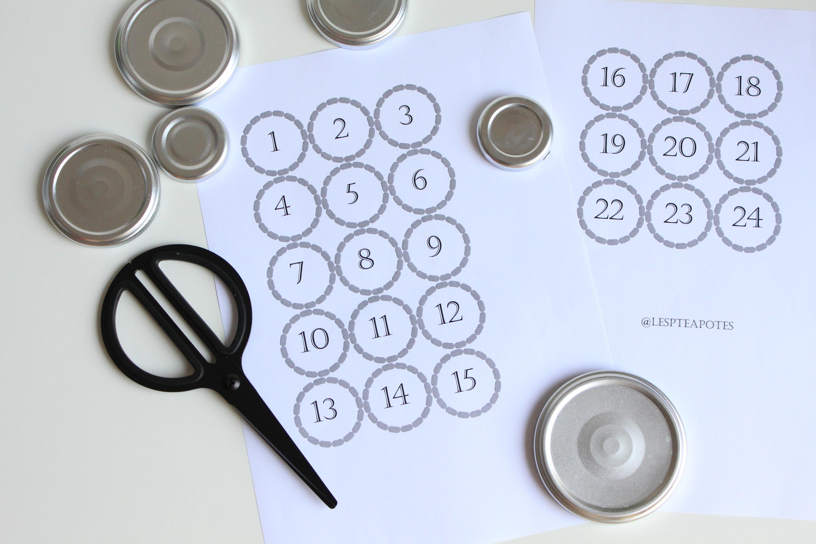 diy le calendrier de l avent avec des bocaux recycl s. Black Bedroom Furniture Sets. Home Design Ideas